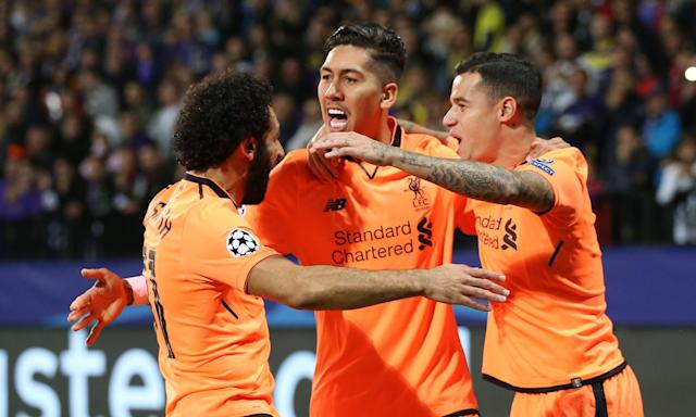 Mohamed Salah, Roberto Firmino and Philippe Coutinho were all on the scoresheet for Liverpool.