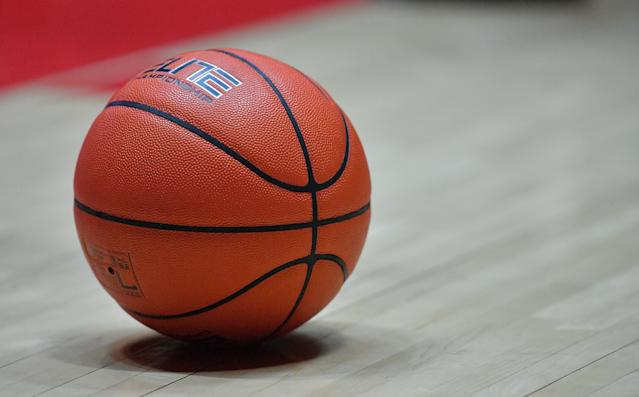 ALBUQUERQUE, NEW MEXICO - DECEMBER 04: A ball lies on the court during a game between the New Mexico Lobos and the Boise State Broncos at Dreamstyle Arena - The Pit on December 04, 2019 in Albuquerque, New Mexico. The Lobos defeated the Broncos 80-78. (Photo by Sam Wasson/Getty Images)