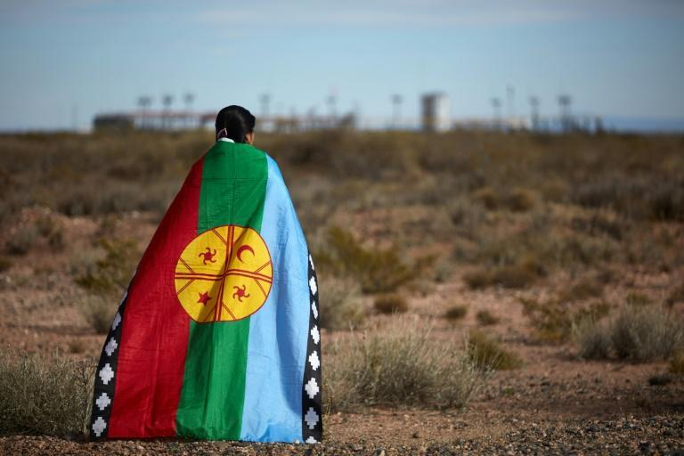 Mapuche indigenous spokeswoman Lorena Bravo stands wrapped in a Mapuche flag near a gas plant at Campo Maripe, on land claimed by her community (AFP Photo/Emiliano Lasalvia)