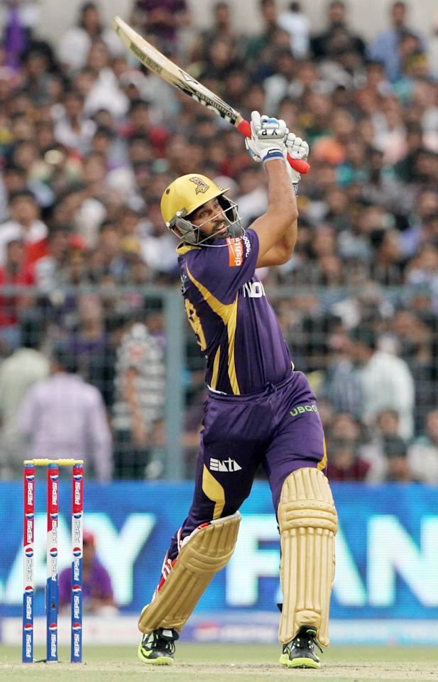 Kolkatta Knight Riders player Yusuf Pathan during match 26 of the Pepsi Indian Premier League between The Kolkata Knight Riders and the Chennai Superkings held at the Eden Gardens Stadium in Kolkata on the 20th April 2013..Photo by Deepak Malik-IPL-SPORTZPICS   ..Use of this image is subject to the terms and conditions as outlined by the BCCI. These terms can be found by following this link:..https://ec.yimg.com/ec?url=http%3a%2f%2fwww.sportzpics.co.za%2fimage%2fI0000SoRagM2cIEc&t=1495647640&sig=2Yi7g7e6VIdb7rQP8UKOhg--~C