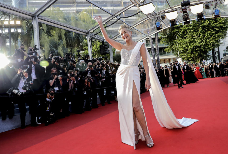 FILE - In this July 17, 2021 file photo Sharon Stone poses for photographers upon arrival at the awards ceremony at the 74th international film festival, Cannes, southern France. The Cannes Film Festival returned this month, rolling out the red carpet and restoring glamour to the French Riviera with a collection of provocative films and a parade of stars. (Photo by Vianney Le Caer/Invision/AP, File)