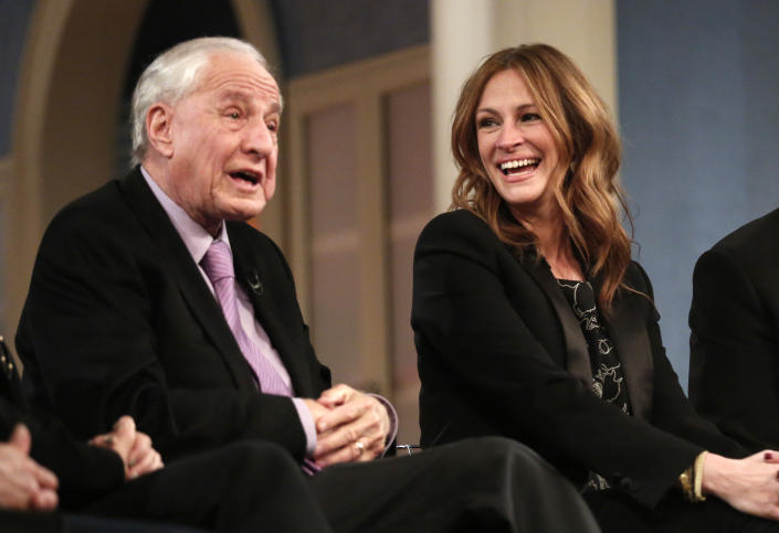 """TODAY -- Pictured: (l-r) Garry Marshall and Julia Roberts appear on NBC News' """"Today"""" show -- (Photo by: Peter Kramer/NBC/NBC NewsWire via Getty Images)"""