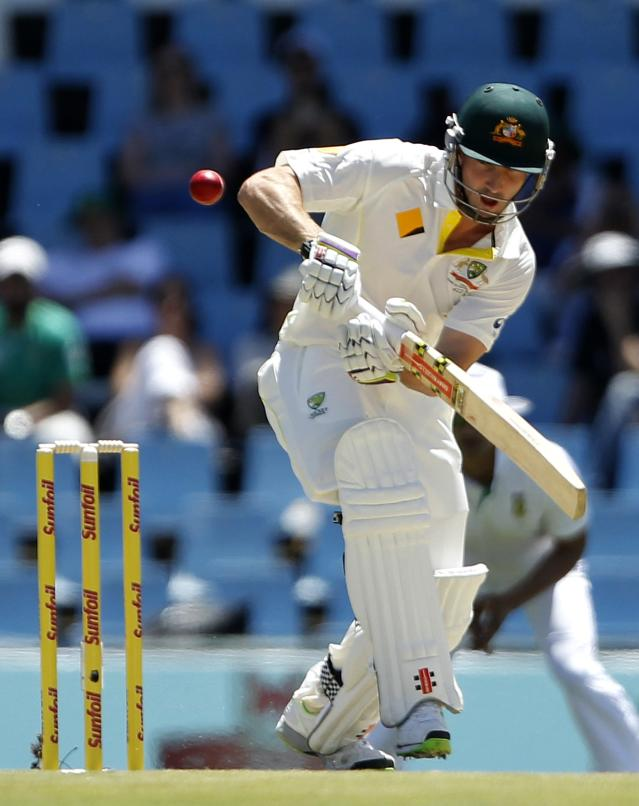 Australia's Shaun Marsh plays a shot during the first day of their cricket test match against South Africa in Centurion February 12, 2014. REUTERS/Siphiwe Sibeko (SOUTH AFRICA - Tags: SPORT CRICKET)