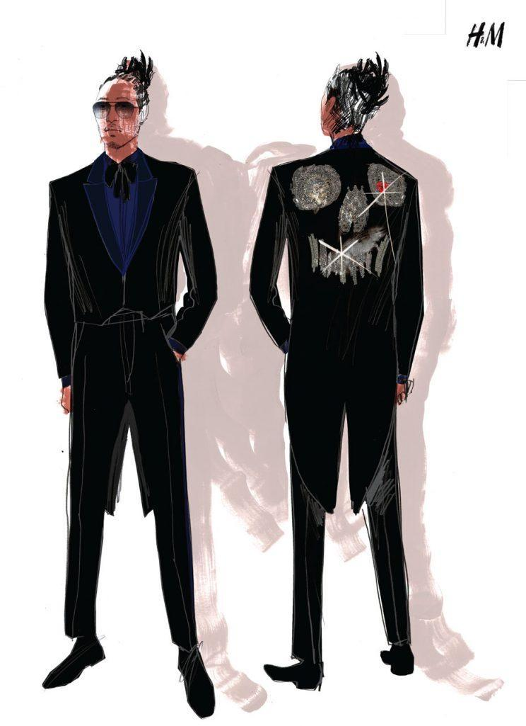 Detailed illustration of Future's black tails by H&M.