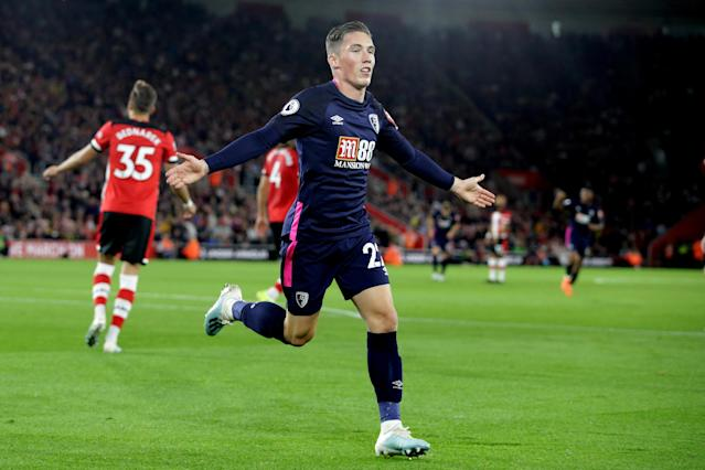 SOUTHAMPTON, ENGLAND - SEPTEMBER 20: Harry Wilson of Bournemouth celebrates after he scores a goal to make it 2-0 during the Premier League match between Southampton FC and AFC Bournemouth at St Mary's Stadium on September 20, 2019 in Southampton, United Kingdom. (Photo by Robin Jones - AFC Bournemouth/AFC Bournemouth via Getty Images)