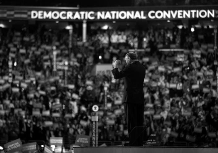 <p>VP nominee Tim Kaine revs up the crowd during his acceptance speech at the Democratic National Convention Wednesday, July 27, 2016, in Philadelphia, PA. (Photo: Khue Bui for Yahoo News)</p>