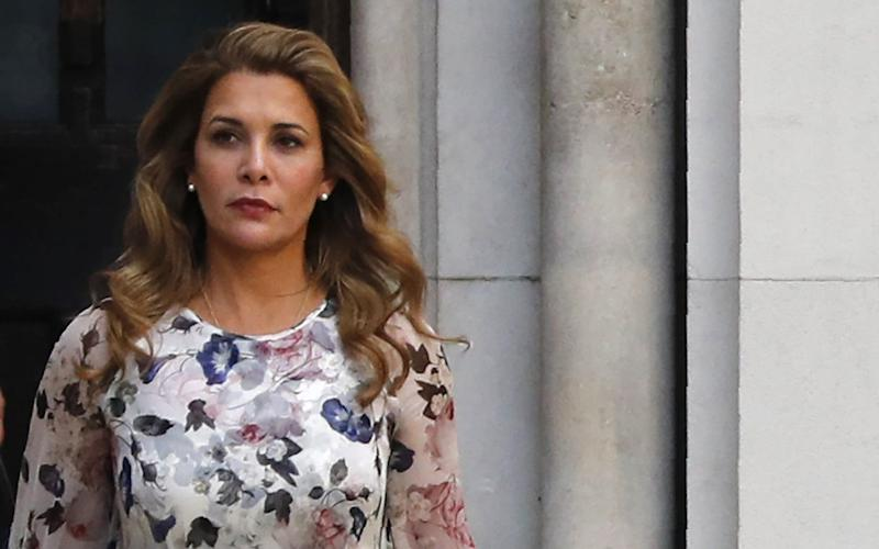 Princess Haya Bint al-Hussein of Jordan leaves the Royal Courts of Justice in London  - AFP