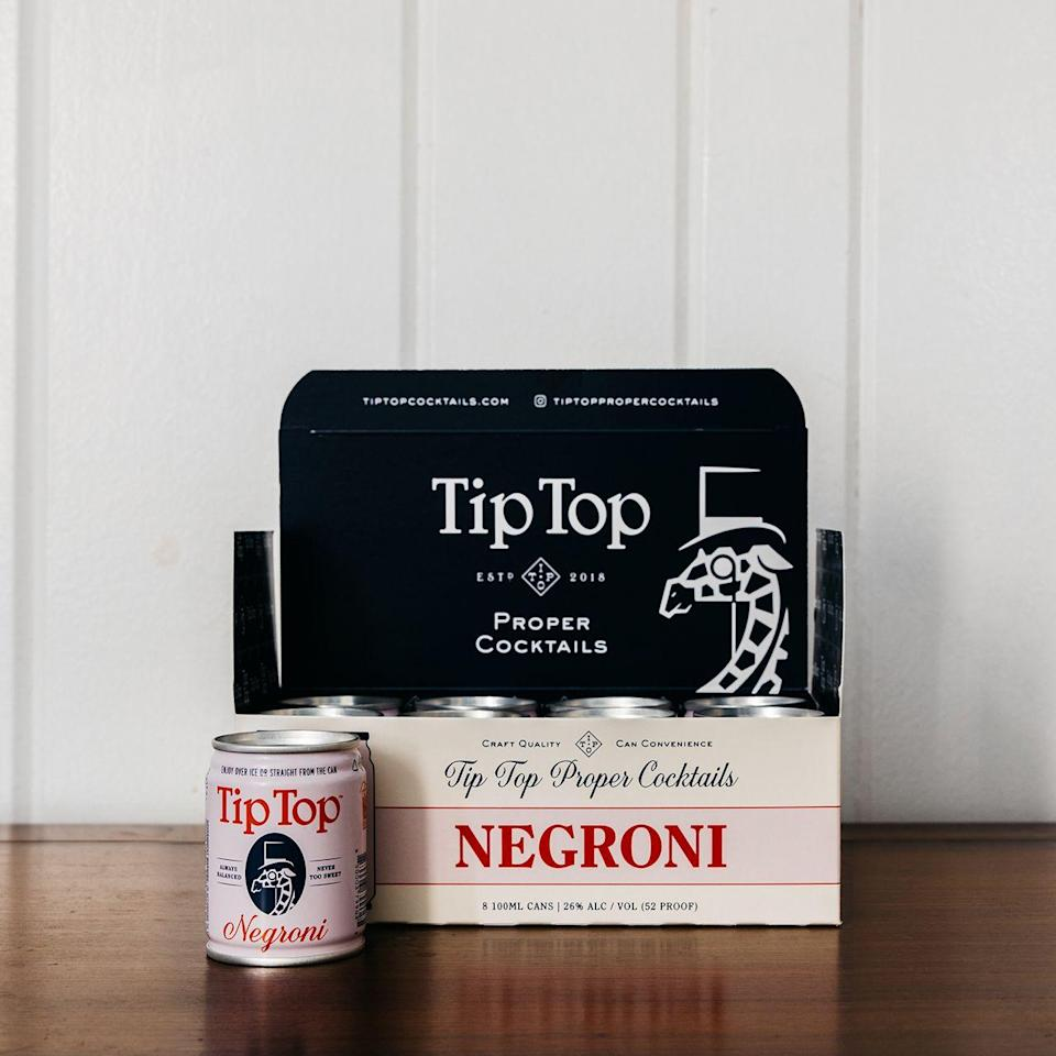 """<p>tiptopcocktails.com</p><p><strong>$34.99</strong></p><p><a href=""""https://shop.tiptopcocktails.com/product/negroni-8-pack/"""" rel=""""nofollow noopener"""" target=""""_blank"""" data-ylk=""""slk:Shop Now"""" class=""""link rapid-noclick-resp"""">Shop Now</a></p><p>If you want a real """"right from the bartender"""" taste, Tip Top's blends strike the perfect chord. They specialize in classic cocktails like the Old Fashioned, Manhattan, or this perfectly bittersweet Negroni, all in handy, single-serve 100mL cans. </p>"""