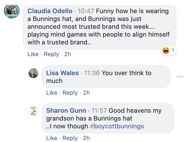 Facebook comments about Pete Evans and Bunnings