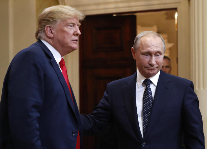 Donald Trump and Vladimir Putin after their meeting in Helsinki, July 16, 2018. (Photo: Pablo Martinez Monsivais/AP)