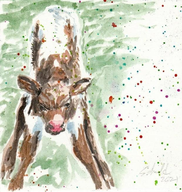 A piece from March 13, 2021 is a water colour of a new calf taking their first steps. Sometimes Marsha Schuld has an idea in mind and other times she finds the idea through the medium, she said.