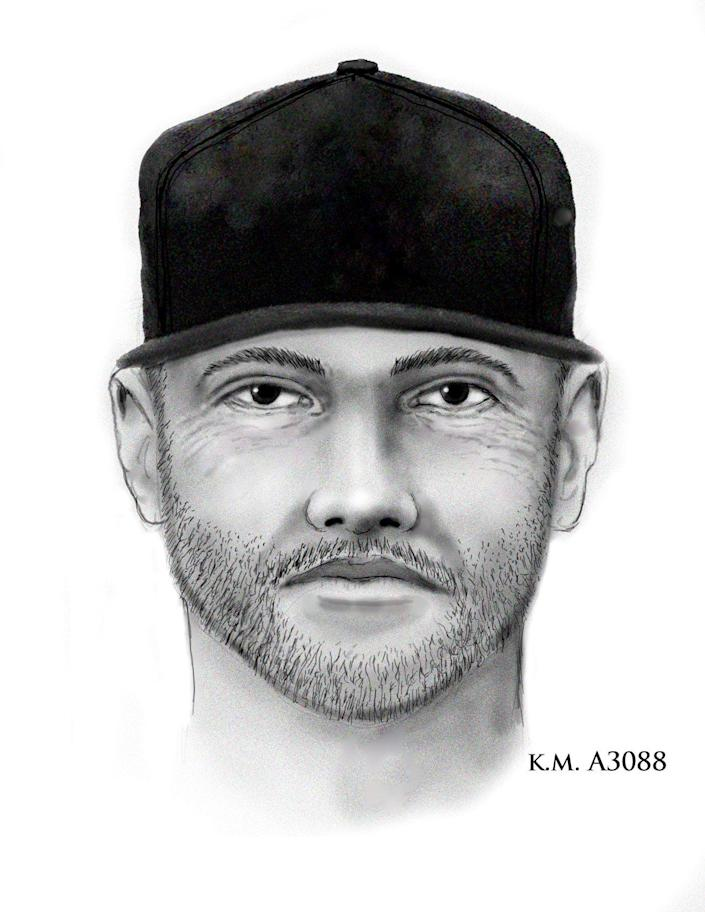 This is the sketch police have released of the man who shot and killed a 10-year-old in her driveway Wednesday, April 3, 2019.