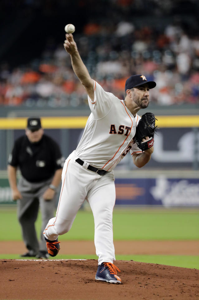 Houston Astros starting pitcher Justin Verlander throws during the first inning of the team's baseball game against the Oakland Athletics on Tuesday, July 10, 2018, in Houston. (AP Photo/David J. Phillip)