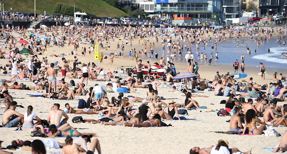 Thousands flocked to Bondi on Saturday on a day of glorious weather. Source: AAP