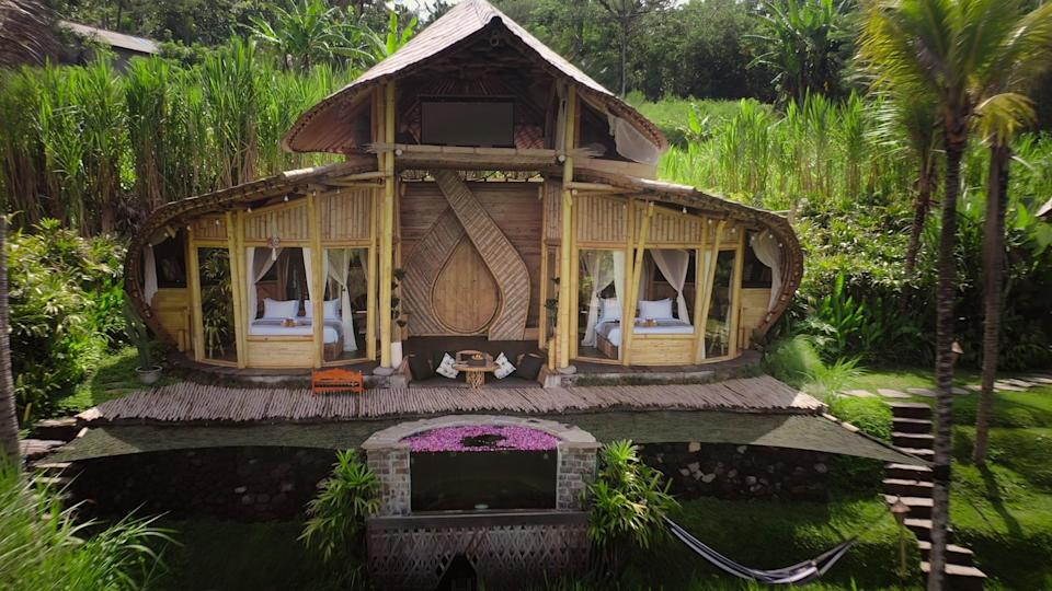 """<p>This gorgeous open-air cabin in the exclusive Made Village has two bedrooms (with their own protective mosquito nets), a tanning net, a pool, an upstairs lounging area, and beautiful architecture situated in rice terraces. Rent the entire bamboo <a href=""""https://www.airbnb.com/rooms/38533722"""" class=""""link rapid-noclick-resp"""" rel=""""nofollow noopener"""" target=""""_blank"""" data-ylk=""""slk:Camaya Bali Butterfly"""">Camaya Bali Butterfly</a> cabin for just $171 a night.</p>"""