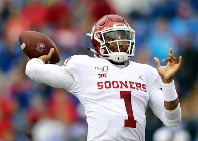 The Philadelphia Eagles dipped into the quarterback talent pool to select Jalen Hurts of Oklahoma with their second round pick in the 2020 NFL entry draft (AFP Photo/JAMIE SQUIRE)