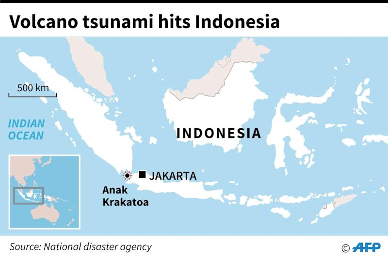 A map of Indonesia shows where the tsunami hit (AFP Photo/AFP)