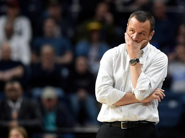 "Kentucky Gov. Matt Bevin blamed Louisville women's coach Jeff Walz' ""silliness"" for the Cardinals' NCAA tournament loss, keeping their beef alive. (Brad Horrigan/Hartford Courant/Getty Images)"
