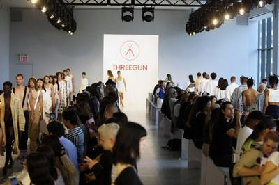 Models present the Threegun Spring/Summer 2020 collection during the New York Fashion Week in New York, the United States, Sept. 4, 2019.