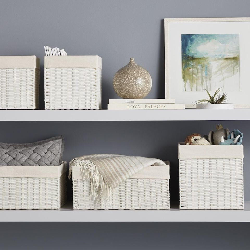 """<p><strong>Medium Montauk Rectangular Bin White</strong></p><p>containerstore.com</p><p><a href=""""https://go.redirectingat.com?id=74968X1596630&url=https%3A%2F%2Fwww.containerstore.com%2Fs%2Fcloset%2Fstorage-boxes-bins%2Fwhite-montauk-woven-rectangular-storage-bins%2F12d%3FproductId%3D11000935&sref=https%3A%2F%2Fwww.veranda.com%2Fluxury-lifestyle%2Fg36531021%2Fmemorial-day-sales-2021%2F"""" rel=""""nofollow noopener"""" target=""""_blank"""" data-ylk=""""slk:Shop Now"""" class=""""link rapid-noclick-resp"""">Shop Now</a></p><p>If spring cleaning wasn't exactly your top priority this season, The Container Store is here to make it that much more appealing. The brand's Closet Essentials Sale is happening now with up to 25 percent off best selling closet and general organization products, such as drawer organizers, hangers, and even closet systems. </p>"""