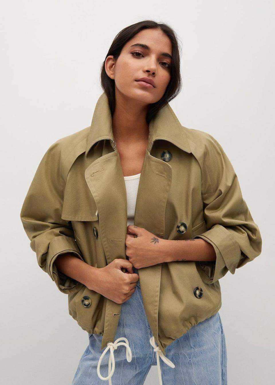 <p>This <span>Mango Cotton Short Trench Coat</span> ($120) is a fun twist on a classic springtime staple.</p>