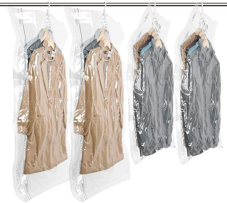 """Take up a fraction of your closet space with these bags. And you can do it with clothes on the hanger instead of trying to fold and smush them into a regular vacuum bag.<br /><br /><strong>Promising review:</strong>""""Bought these storage bags two weeks ago to pack my winter clothes for summer, and they did the job perfectly. They are large and sturdy. I like its five-hook design.<strong>I can store five women's jackets or four big men's jackets in ONE bag.</strong>The long bags also fit my dresses.<strong>The biggest reason I bought these bags is that I do not need to fold my seasonal clothes; just hang, zip, vacuum, done! Super convenient.</strong>Extremely happy with this space bags. I will definitely order more!"""" --<a href=""""https://amzn.to/3f2RInu"""" target=""""_blank"""" rel=""""noopener noreferrer"""">Jia Yan</a><br /><br /><strong>Get a pack of four from Amazon for <a href=""""https://amzn.to/2SAOMap"""" target=""""_blank"""" rel=""""noopener noreferrer"""">$35.99</a>.</strong>"""