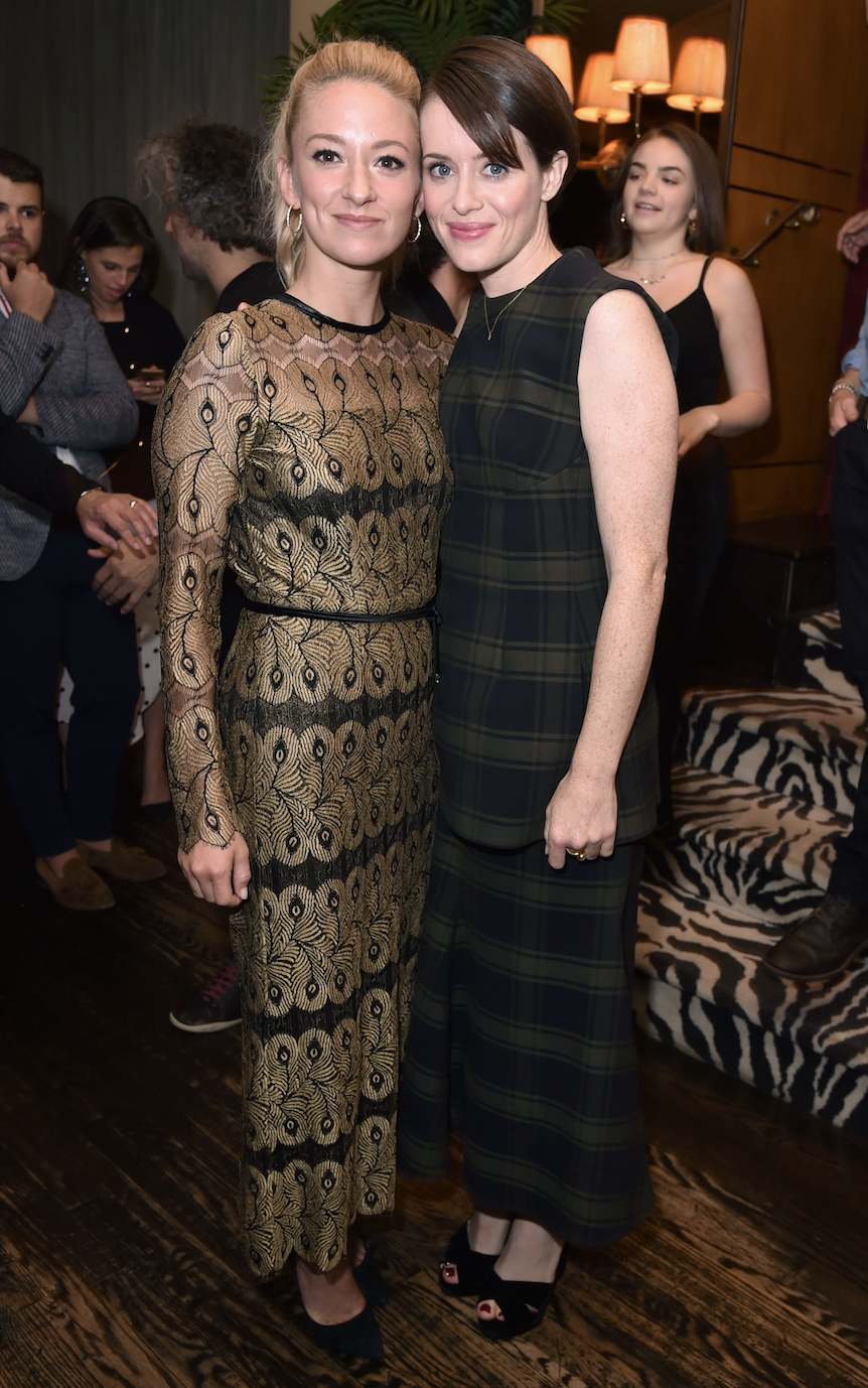 <p>Claire Foy attended the 'First Man' film screening and reception in New York on 3 October. She wore a floor-length dark tartan shift dress with black platform sandals. <i>[Photo: Rex]</i> </p>