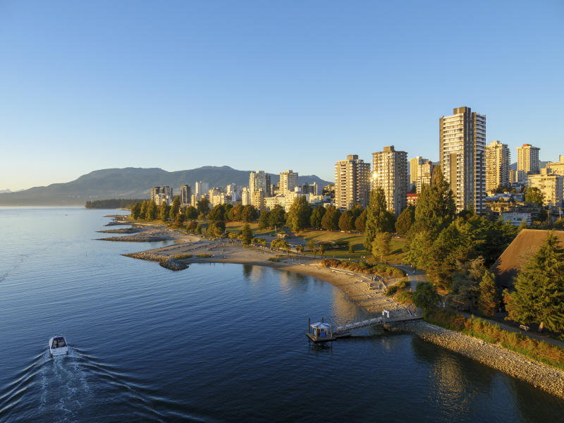 View of English Bay shoreline. Vancouver. British Columbia. Canada. (Photo by: Education Images/Universal Images Group via Getty Images)