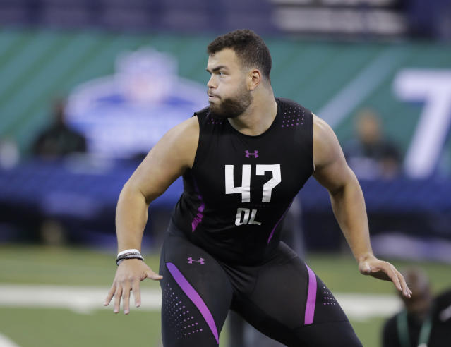The Patriots could look to former Texas OL Connor Williams to replace Nate Solder with the pick gained in the Brandin Cooks trade. (AP)