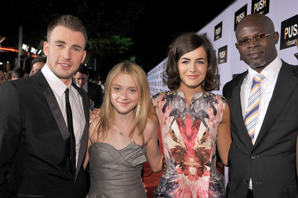 """<a href=""""http://movies.yahoo.com/movie/contributor/1803006988"""">Chris Evans</a>, <a href=""""http://movies.yahoo.com/movie/contributor/1804501481"""">Dakota Fanning</a>, <a href=""""http://movies.yahoo.com/movie/contributor/1800024058"""">Camilla Belle</a> and <a href=""""http://movies.yahoo.com/movie/contributor/1800020002"""">Djimon Hounsou</a> at the Los Angeles premiere of <a href=""""http://movies.yahoo.com/movie/1809922967/info"""">Push</a> - 01/29/2009"""