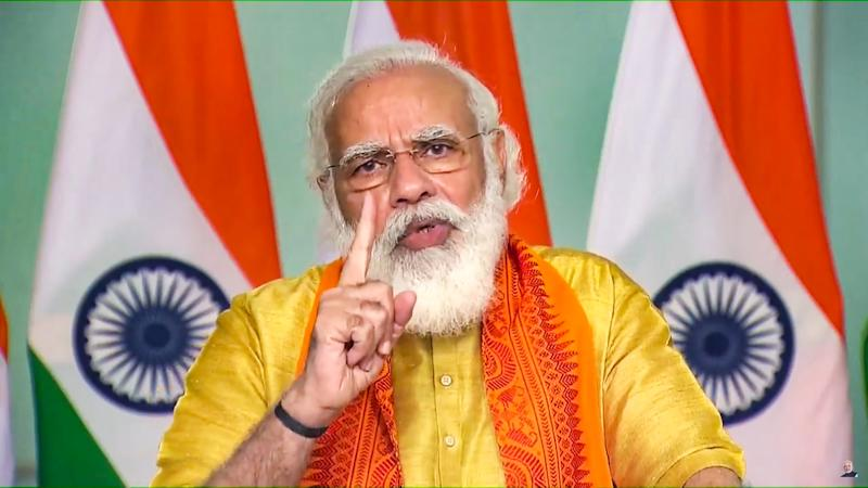 **EDS: SCREENSHOT FROM VIDEO STREAM** New Delhi: Prime Minister Narendra Modi during inauguration of six mega projects in Uttarakhand under the 'Namami Gange Mission' through a video conference, New Delhi, Tuesday, Sept. 29, 2020. (PTI Photo) (PTI29-09-2020_000027A)