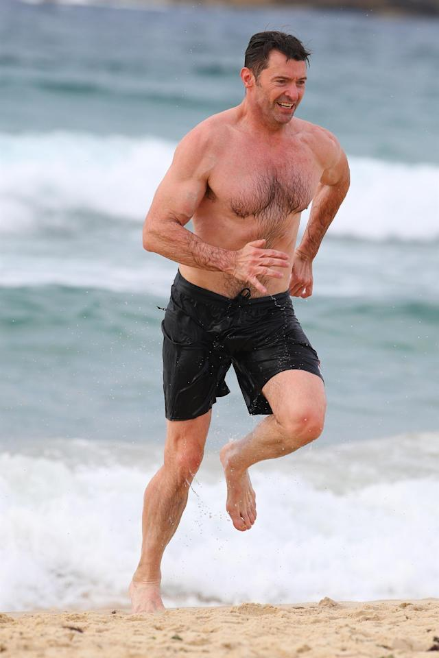 <p>The Greatest Showman put on a great display down under. Hugh Jackman hit the sands of Bondi Beach during a workout. Not a bad background view! (Photo: Khap/Backgrid) </p>