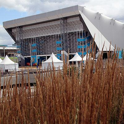 The Water Polo Arena at the Olympic Park in London, England.
