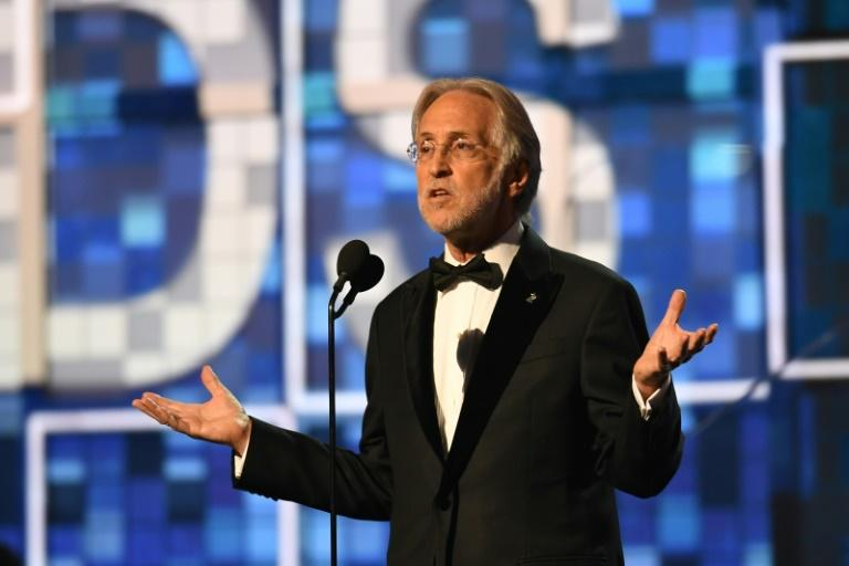 Former Recording Academy president Neil Portnow -- seen here at the 2019 Grammys -- has vehemently denied his successor's claim that he raped a foreign female musician (AFP Photo/Robyn Beck)