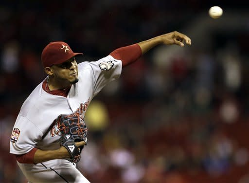 Houston Astros starting pitcher Fernando Abad throws during the first inning of a baseball game against the St. Louis Cardinals, Tuesday, Sept. 18, 2012, in St. Louis. (AP Photo/Jeff Roberson)