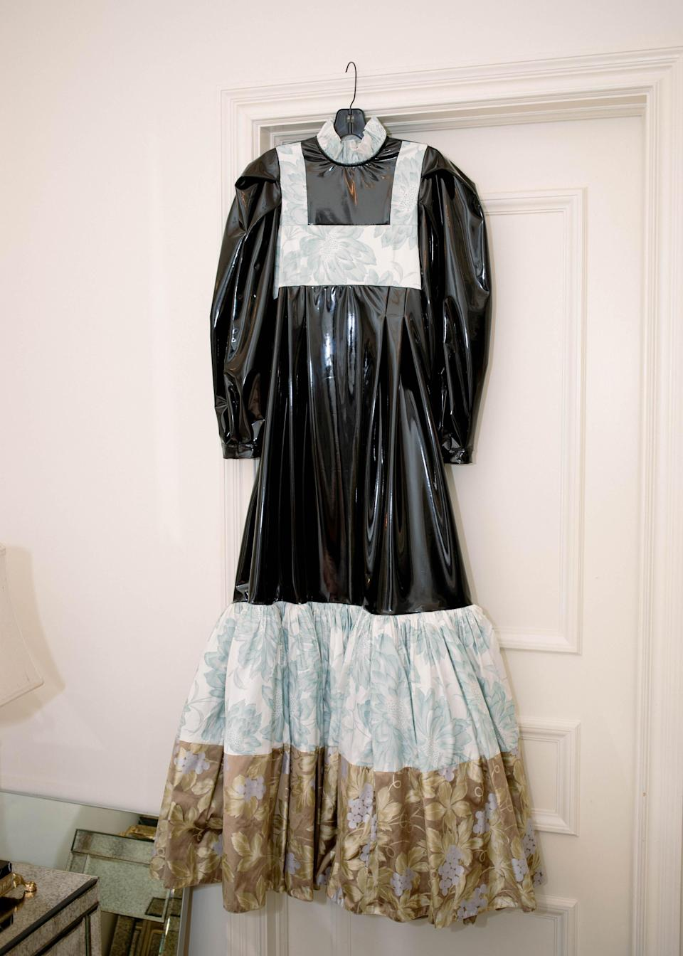Hall's dress, which Hay made out of PVC and floral print taffeta.