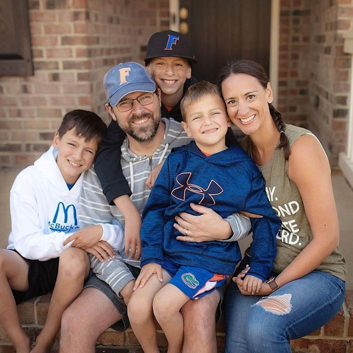 The Bray family of Indian Land, South Carolina: parents Richard (in blue hat), mom Alissa (far right), along with Corbin, 12, Hudson, 10 and Declan, 6. The Brays are eager for their children to experience the benefits of in-person school this fall, but they remain concerned about their school's ability to keep students and teachers safe as COVID-19 cases rise across the nation.