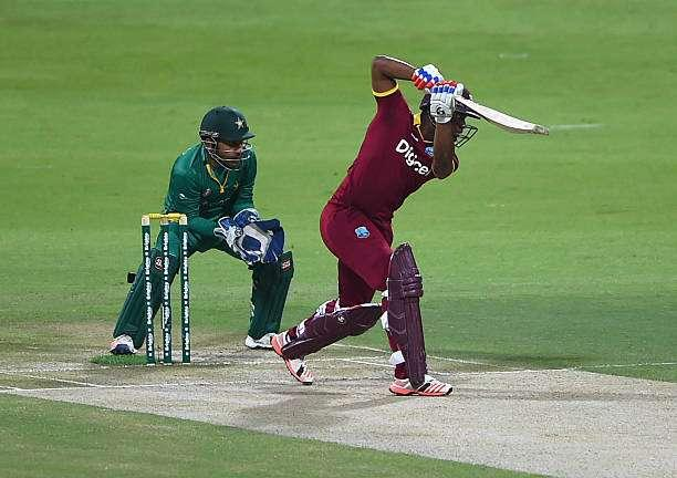 ABU DHABI, UNITED ARAB EMIRATES - OCTOBER 05: Evin Lewis of West Indies bats during the third One Day International match between Pakistan and West Indies at Zayed Cricket Stadium on October 5, 2016 in Abu Dhabi, United Arab Emirates. (Photo by Tom Dulat/Getty Images)
