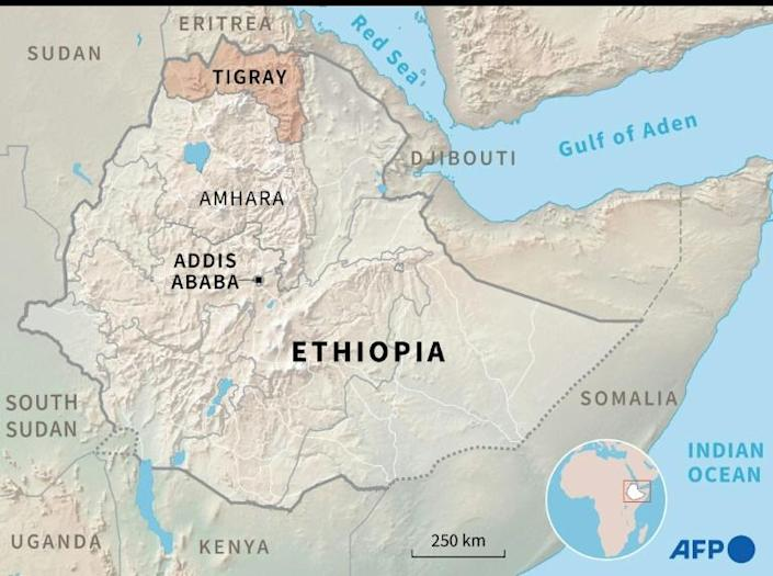 Map of Ethiopia locating the region of Tigray