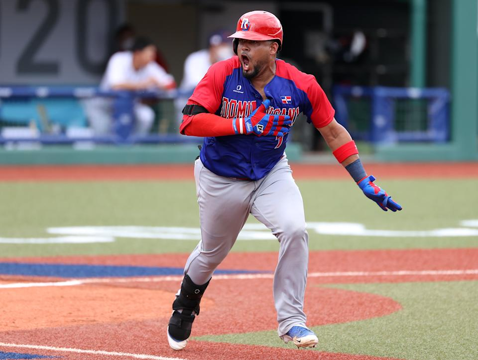 <p>FUKUSHIMA, JAPAN - JULY 28: Charlie Valerio #7 of Team Dominican Republic reacts on his way to first base after hitting a two-run double in the seventh inning against Team Japan during the baseball opening round Group A game on day five of the Tokyo 2020 Olympic Games at Fukushima Azuma Baseball Stadium on July 28, 2021 in Fukushima, Japan. (Photo by Getty Images/Getty Images)</p>