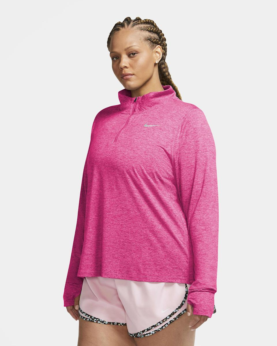 """<p><strong>nike</strong></p><p>nike.com</p><p><strong>$65.00</strong></p><p><a href=""""https://go.redirectingat.com?id=74968X1596630&url=https%3A%2F%2Fwww.nike.com%2Ft%2Felement-womens-1-2-zip-running-top-plus-size-JGvKfj&sref=https%3A%2F%2Fwww.goodhousekeeping.com%2Fclothing%2Fg35139110%2Fbest-plus-size-workout-clothes%2F"""" rel=""""nofollow noopener"""" target=""""_blank"""" data-ylk=""""slk:Shop Now"""" class=""""link rapid-noclick-resp"""">Shop Now</a></p><p>""""I love this top for fall running because it's lightweight, but still keeps you comfortable in colder temperatures,"""" says one online reviewer. She also mentions that the material can easily be pushed up if it gets too warm. The brand says the Element top is <strong>made from """"sustainable materials,"""" like recycled polyester. </strong></p>"""