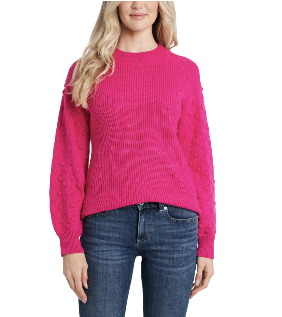 CeCE Puff Sleeve Bobble Ribbed Sweater - $50 (originally $89)
