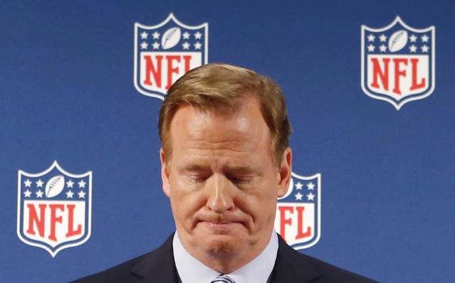 """FILE - In this Sept. 19, 2014, file photo, NFL Commissioner Roger Goodell pauses as he speaks during a news conference in New York. Rice has won the appeal of his indefinite suspension by the NFL, which has been """"vacated immediately,"""" the players' union said Friday, Nov. 28, 2014. (AP Photo/Jason DeCrow, File)"""