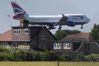 FILE PHOTO: A British Airways Boeing 747 comes in to land at Heathrow airport in London