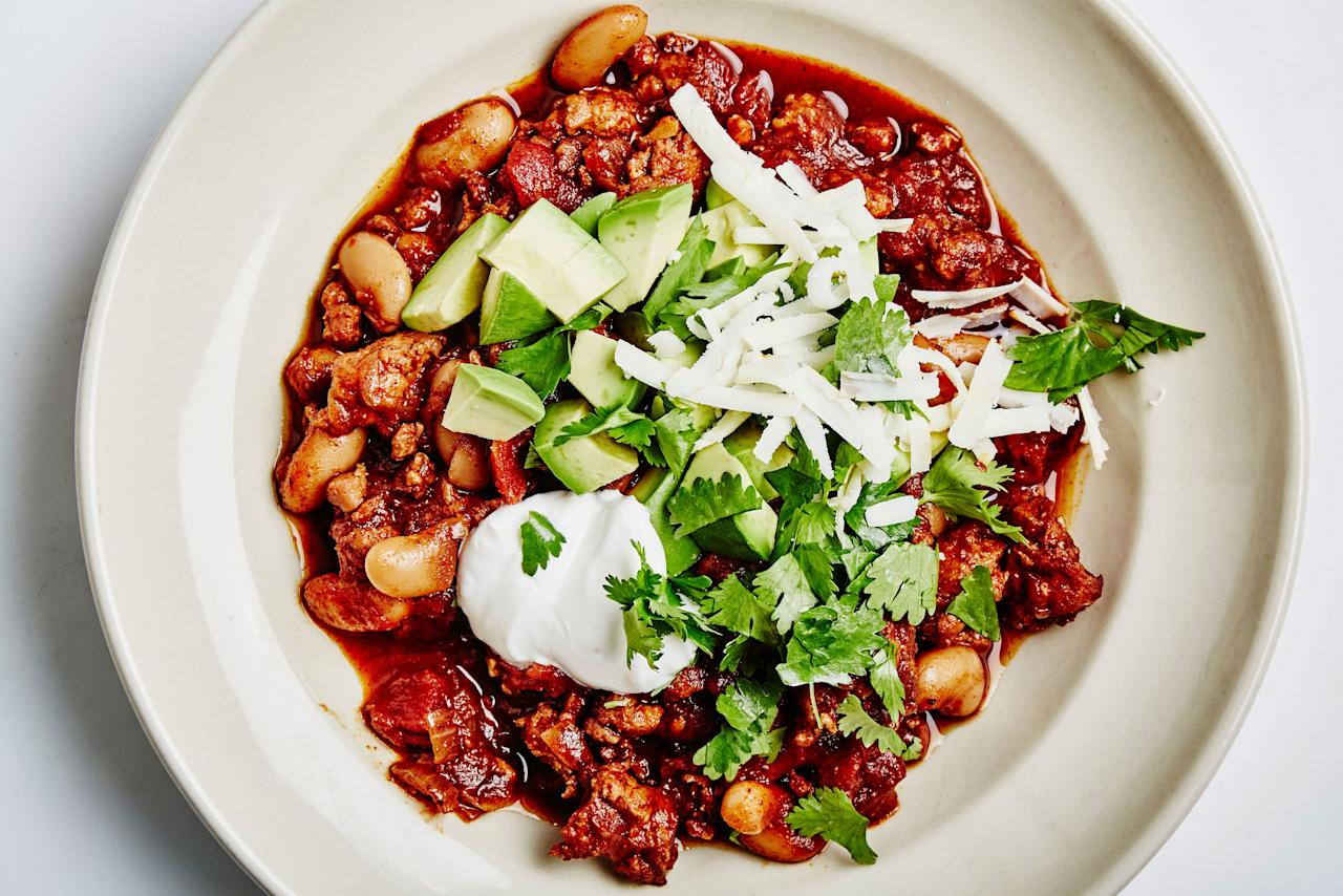 "Not a big fan of chorizo? This chili recipe can also be made with chicken, turkey, or Italian sweet or spicy sausage. <a rel=""nofollow"" href=""https://www.bonappetit.com/recipe/chicken-chorizo-chili?mbid=synd_yahoo_rss"">See recipe.</a>"