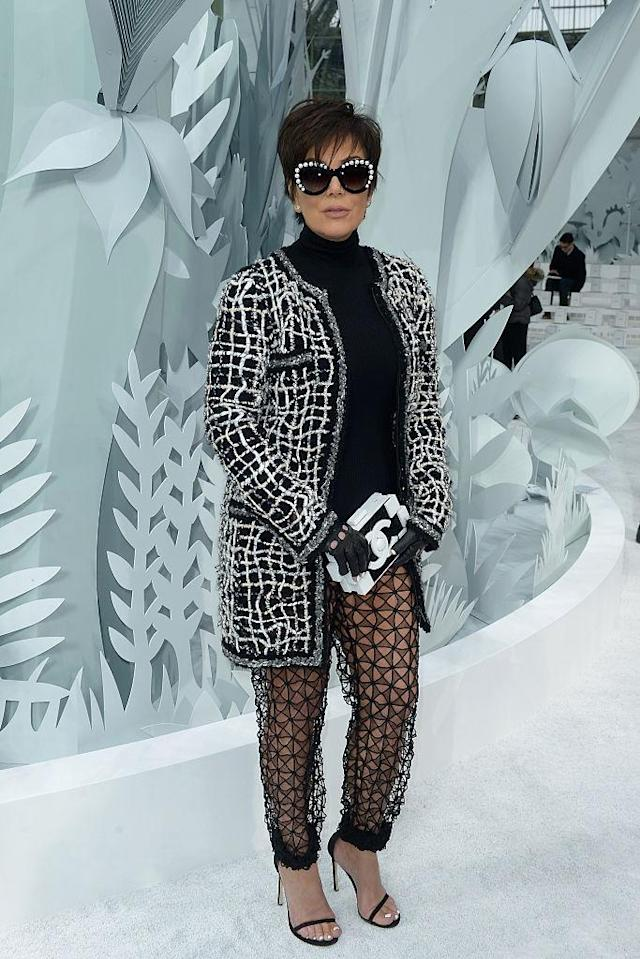 <p>Kris Jenner wears Chanel sheer pants at the French brand's couture show in 2015. (Photo: Getty Images) </p>