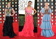 <p>As always, ruffles featured strongly on the red carpet. Rising star Anya Taylor-Joy and Emily Blunt both wore beautiful ruffled numbers to the Bafta's last night. [Photo: Getty] </p>