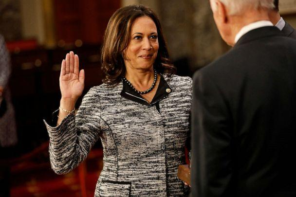 PHOTO: Sen. Kamala Harris participates in a reenacted swearing-in with Vice President Joe Biden in the Old Senate Chamber at the Capitol Jan. 3, 2017. (Aaron P. Bernstein/Getty Images, FILE)