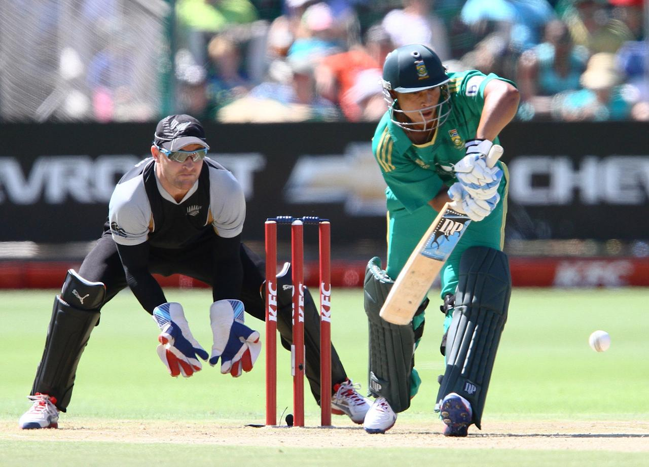 PORT ELIZABETH, SOUTH AFRICA - DECEMBER 26: Henry Davids of South Africa and Brendon McCullum of New Zealand in action during the 3rd T20 International match between South Africa and New Zealand at AXXESS St Georges on December 26, 2012 in Port Elizabeth, South Africa. (Photo by Richard Huggard / Gallo Images/Getty Images)