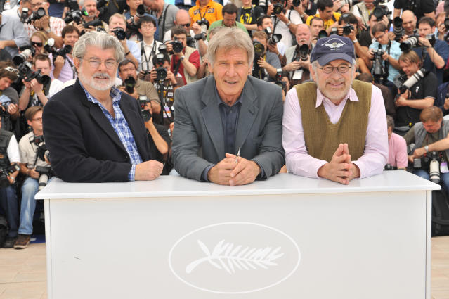 Harrison Ford, George Lucas and Steven Spielberg at the photo call of Indiana Jones and the Kingdom of the Crystal Skull at the 61st Cannes Film Festival (Corbis via Getty Images)